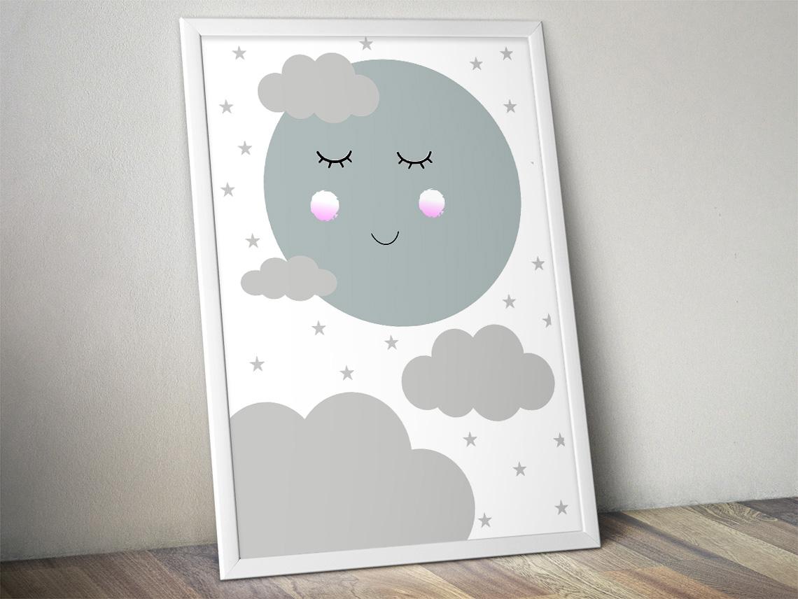 Plakat Księżyc Z Gwiazdami